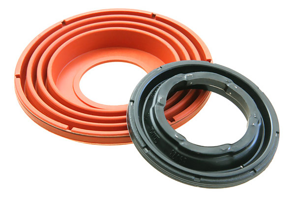 Products made from elastomer/metal and elastomer/plastic
